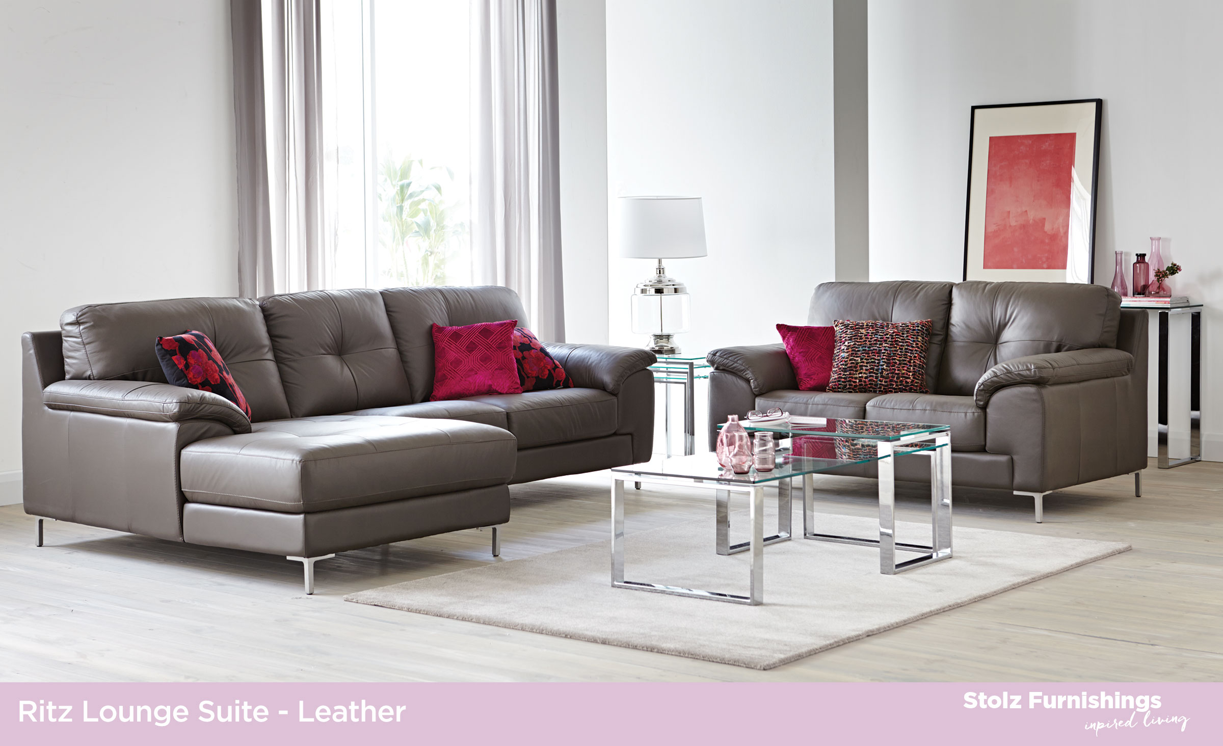100 Leather Lounge Suites Stolz Furnishings