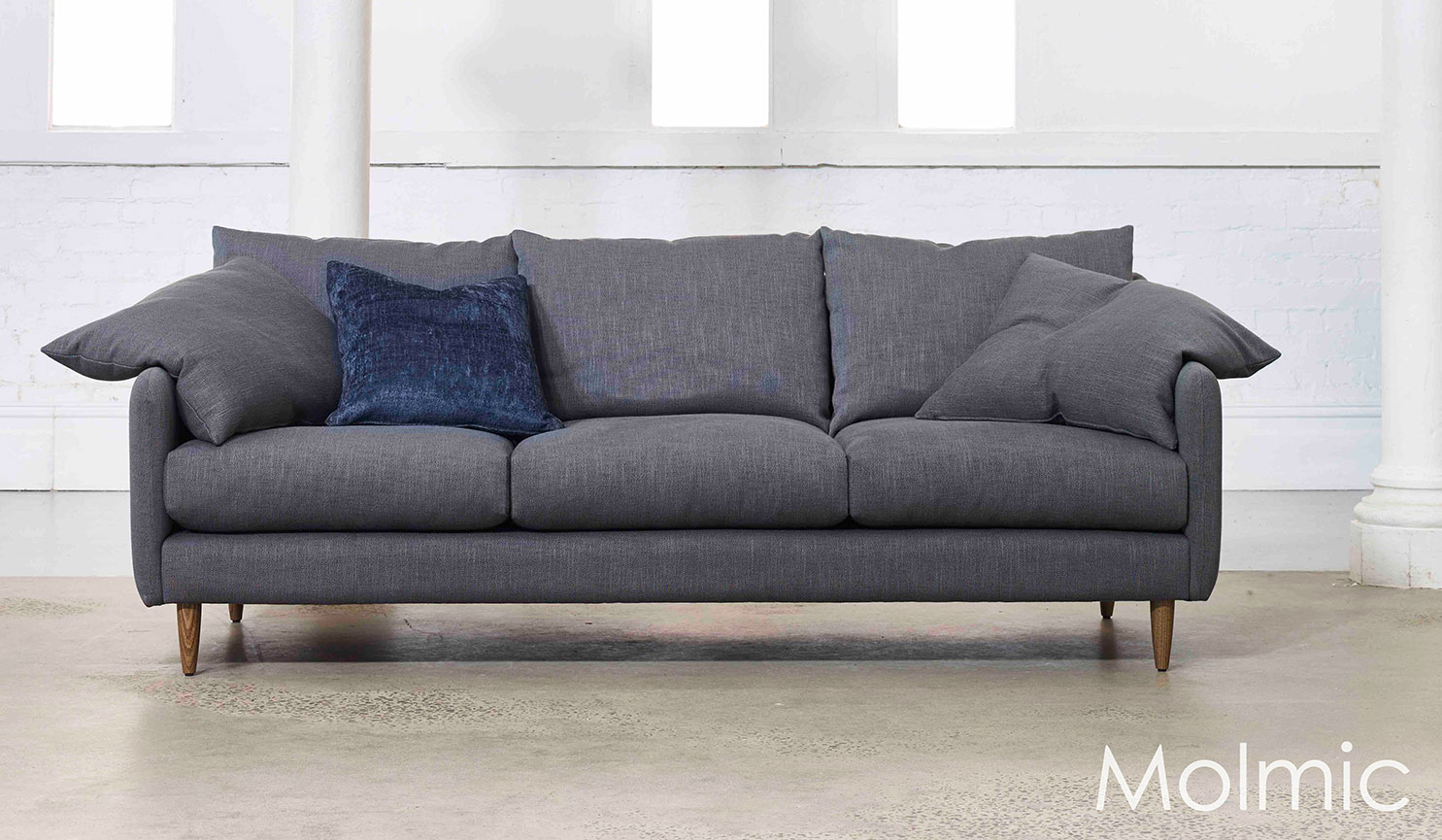 Floyd 3.5 seater sofa in Axiom Storm fabric with Bluescatter (fabric) cushion