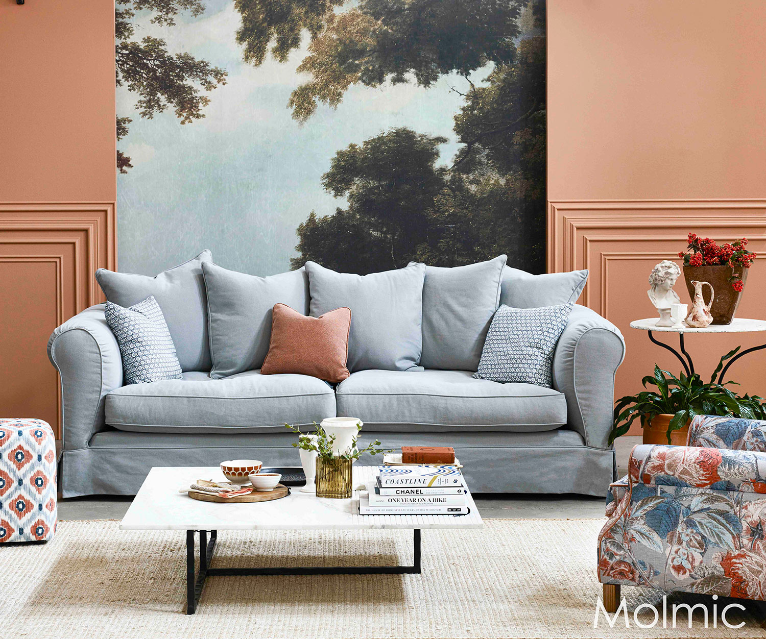 Molmic's iconic scatter cushion design 'Loft' 4 seater sofa in Tahoe Mist fabric