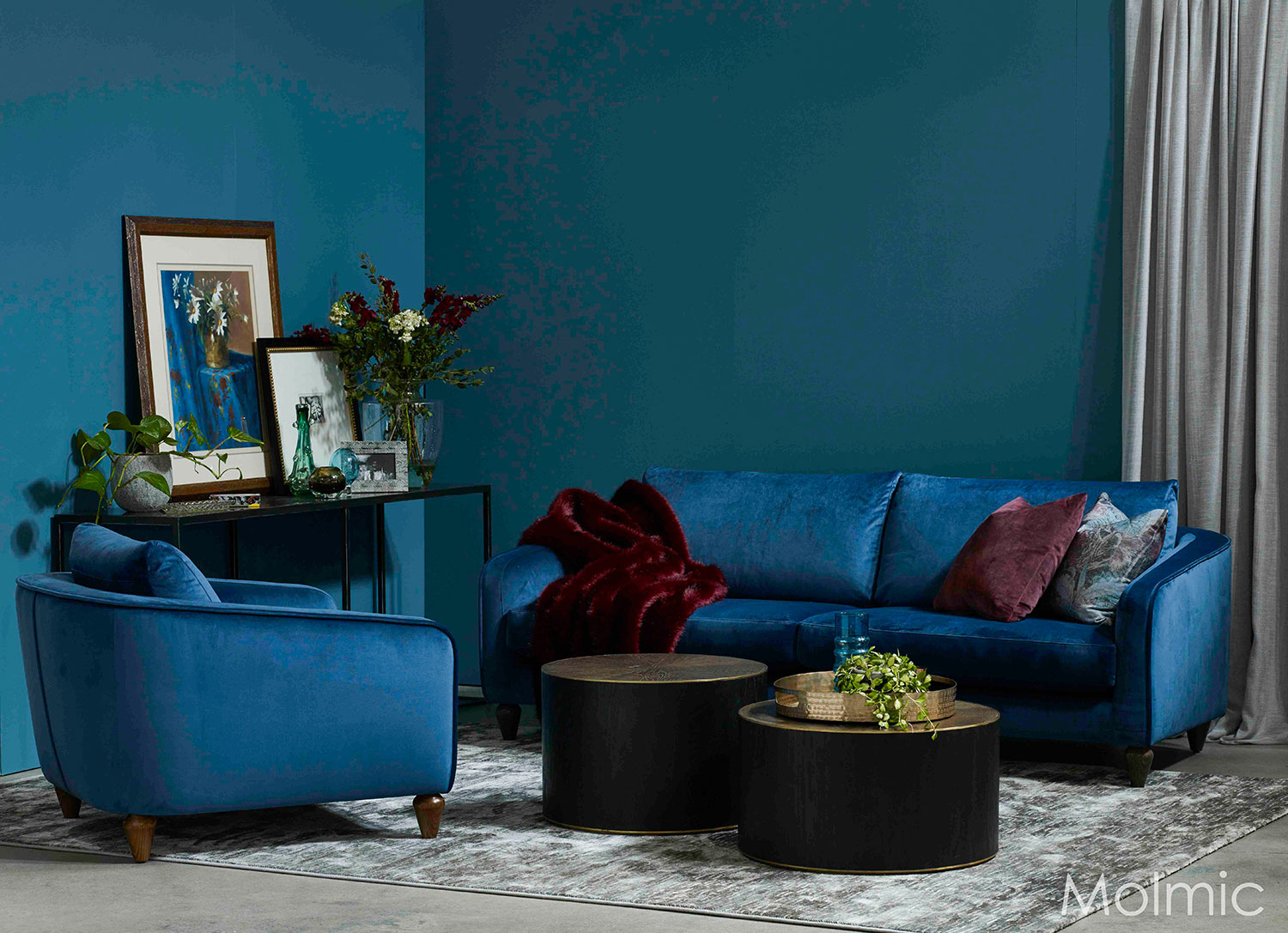 Montana 3 seater sofa in Glamour Teal fabric with Chair and Star Drums