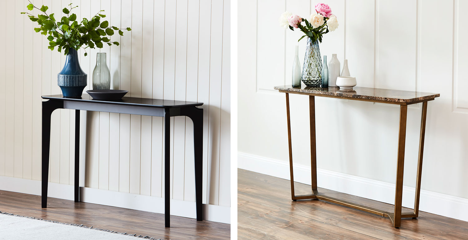 Nordoc Hall table in black and Emperor Console table