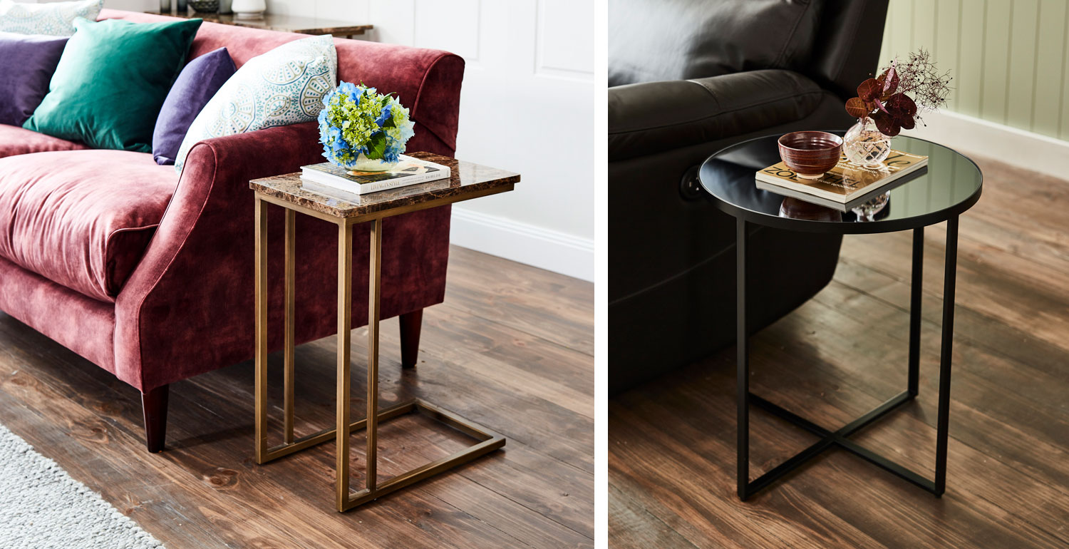 From left: Emperor supper table and and Torrance side tables