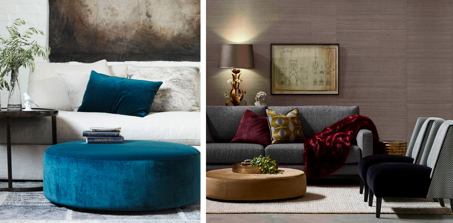 From left: Sherman Dalton Ottoman & Barker 3.5 seater in Madrid Tweed fabric