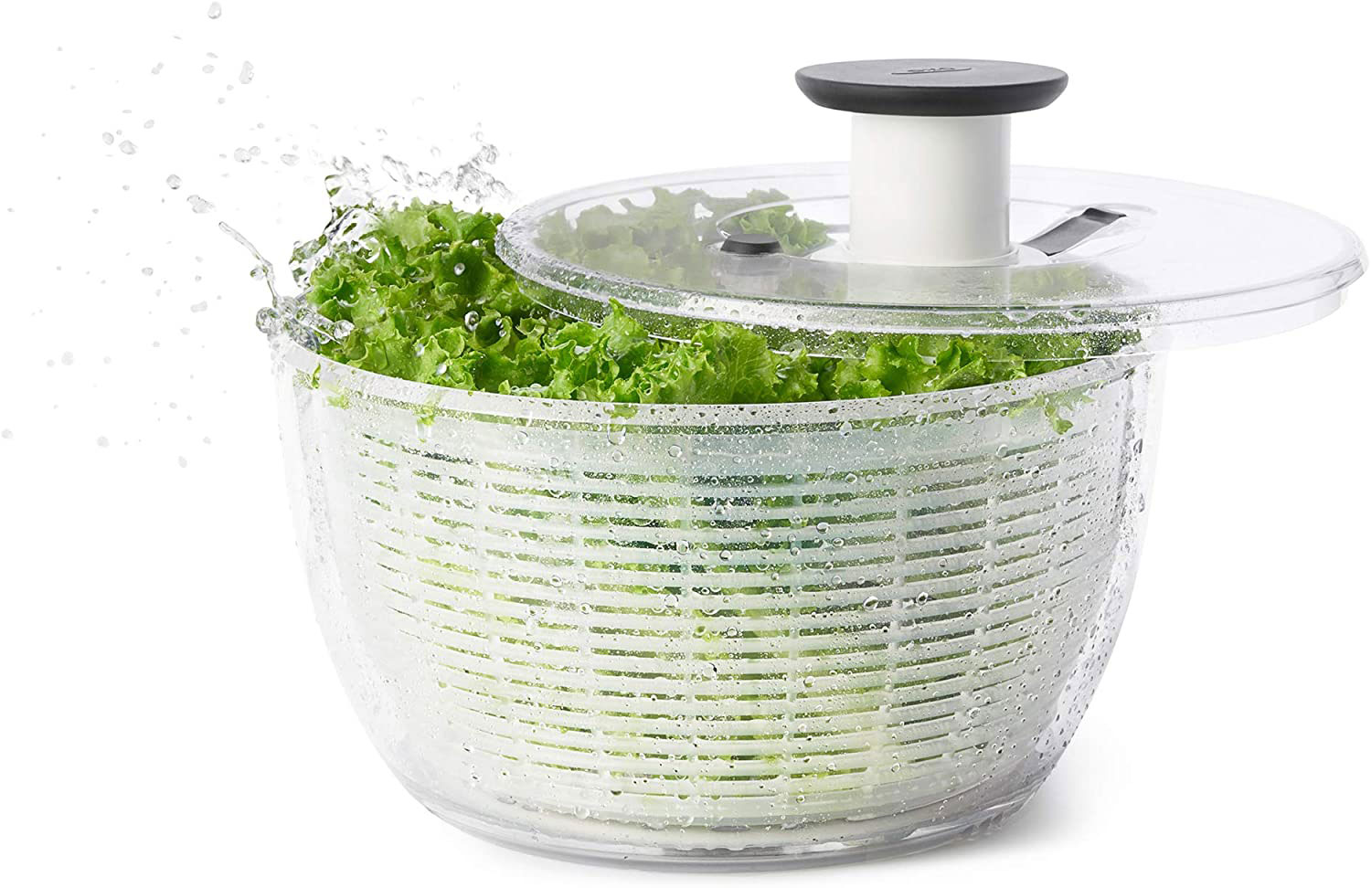 OXO Salad Spinner - One-handed design for maximum drying with minimum effort