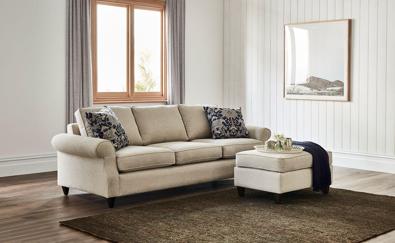 Royal lounge suite in Warwick Mason Marble fabric, with Warwick Maharaja Indigo fabric, scatter cushions.